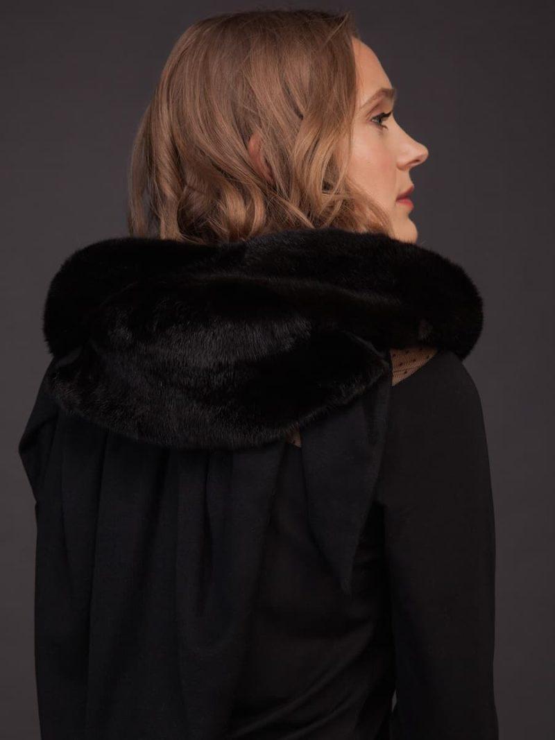 Black cashmere and mink fur shawl scarf hood
