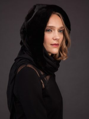 Black cashmere and mink fur shawl scarf hood