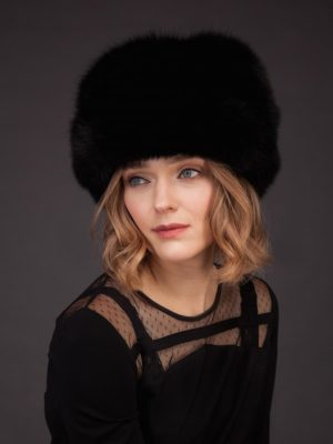 Black fox fur hat with leather inserts and flat top