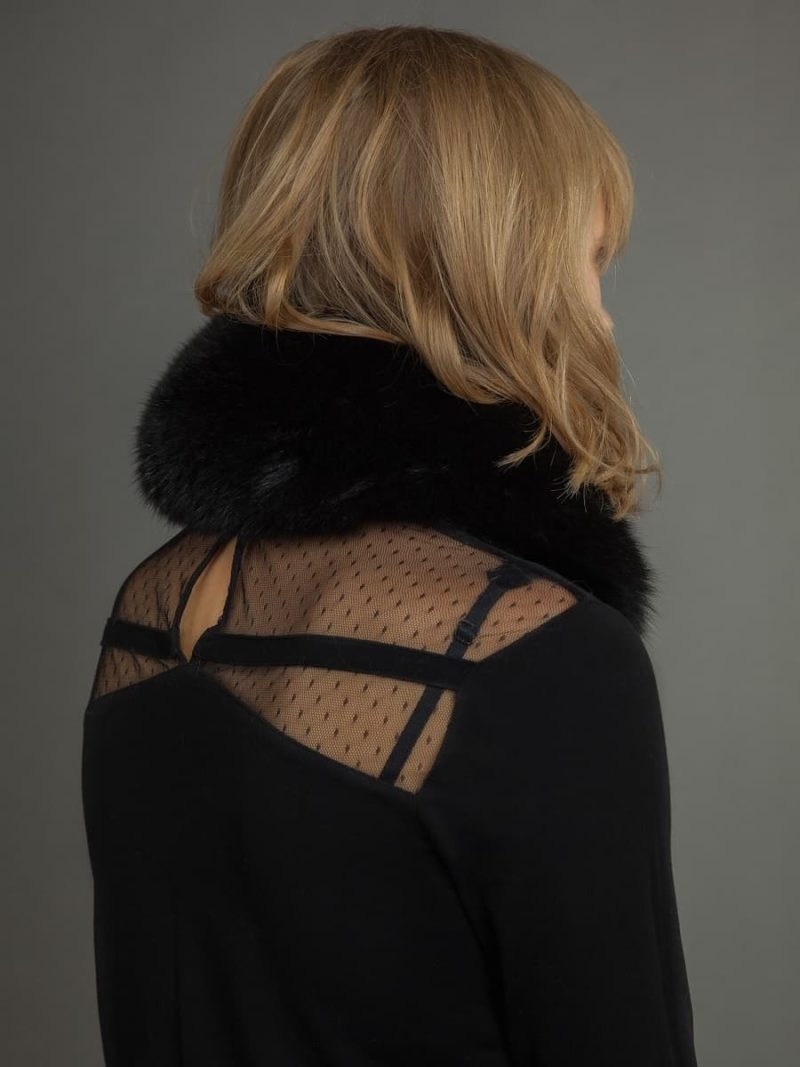 Black fox fur scarf tied with satin band from NordFur
