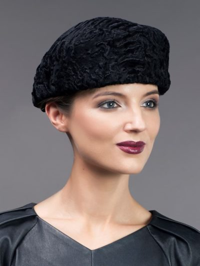 Black karakul fur cap men