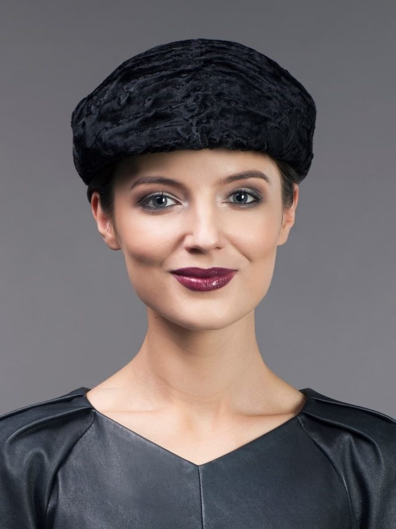 Black karakul fur cap unisex from NordFur