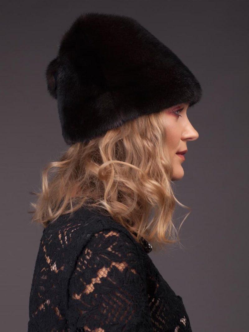 Black mink fur hat kitty