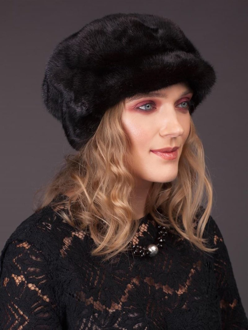 Black mink fur hat with cap ear cover from NordFur