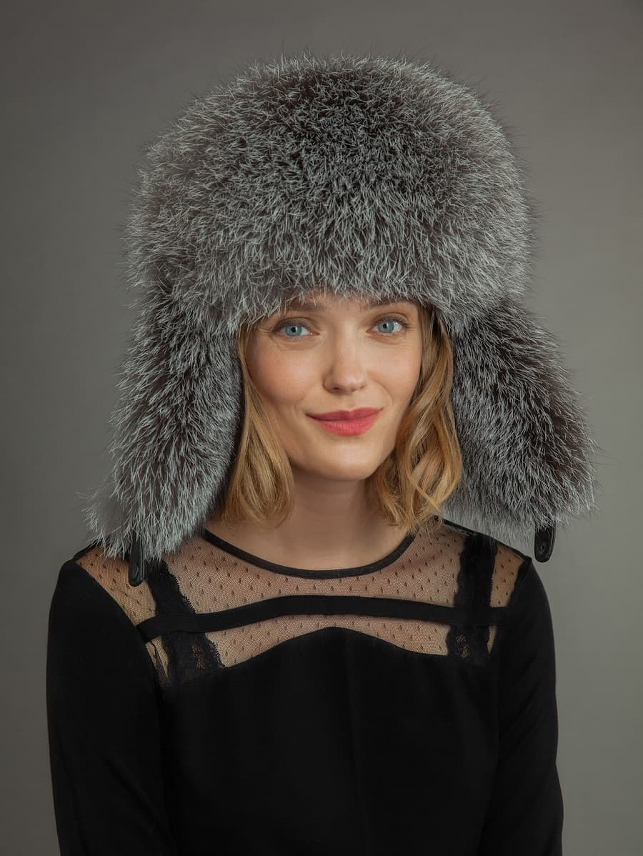 2551ea890 Mouton & Silver Fox Fur Ushanka Hat