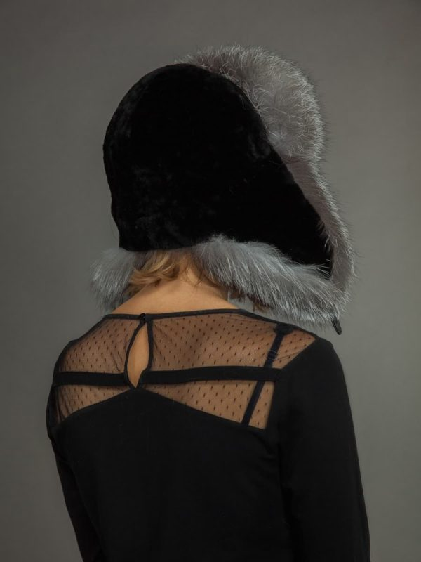 Black mouton shearling and silver fox fur ushanka hat from NordFur