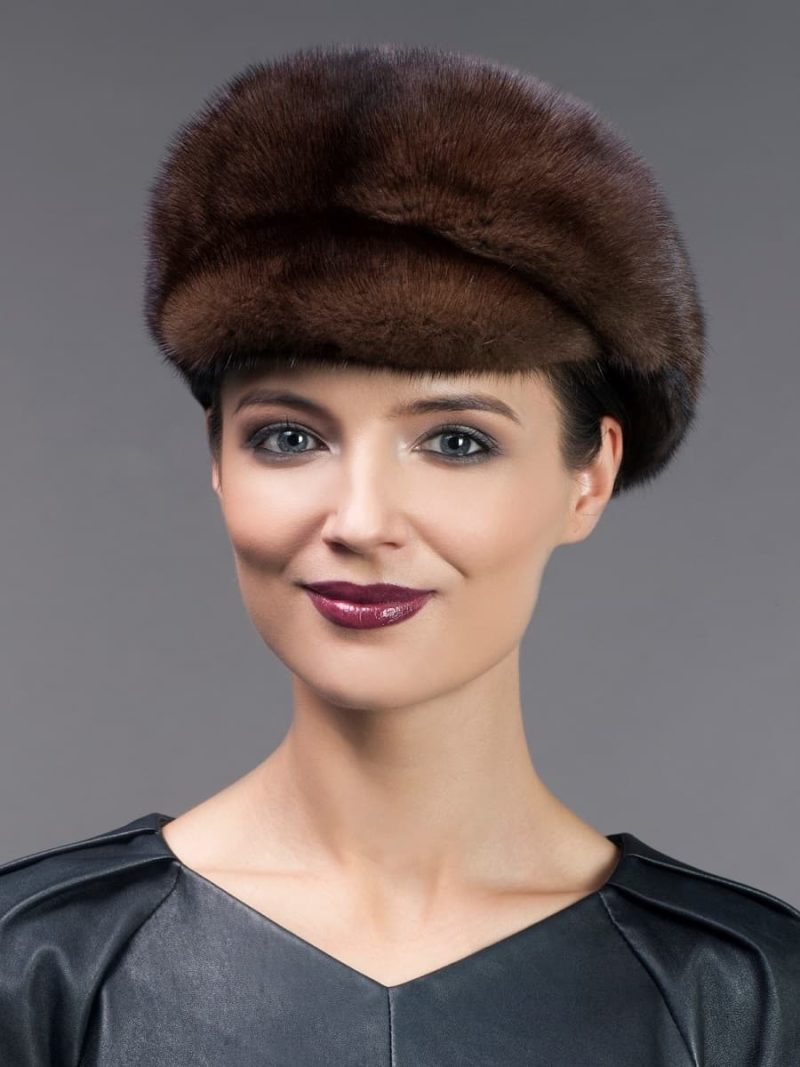 Brown mink fur hat cap