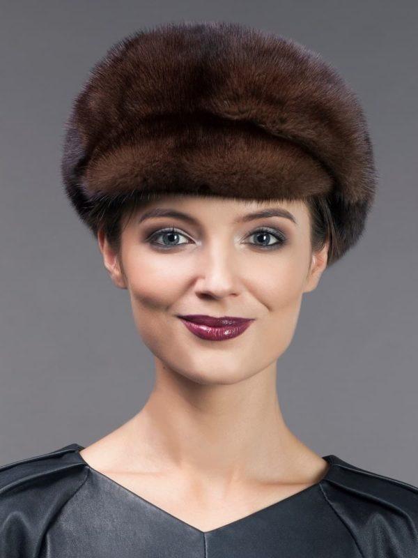 Natural brown mink fur hat cap