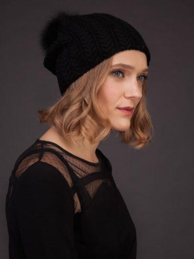 Cashmere knitted black beanie hat with fox fur pom pom