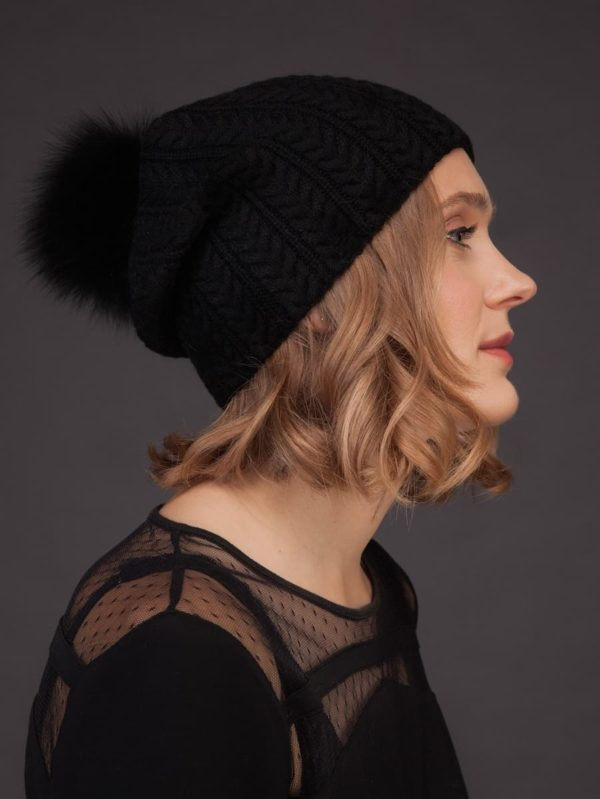 Cashmere knitted black beanie hat with fox fur pom pom