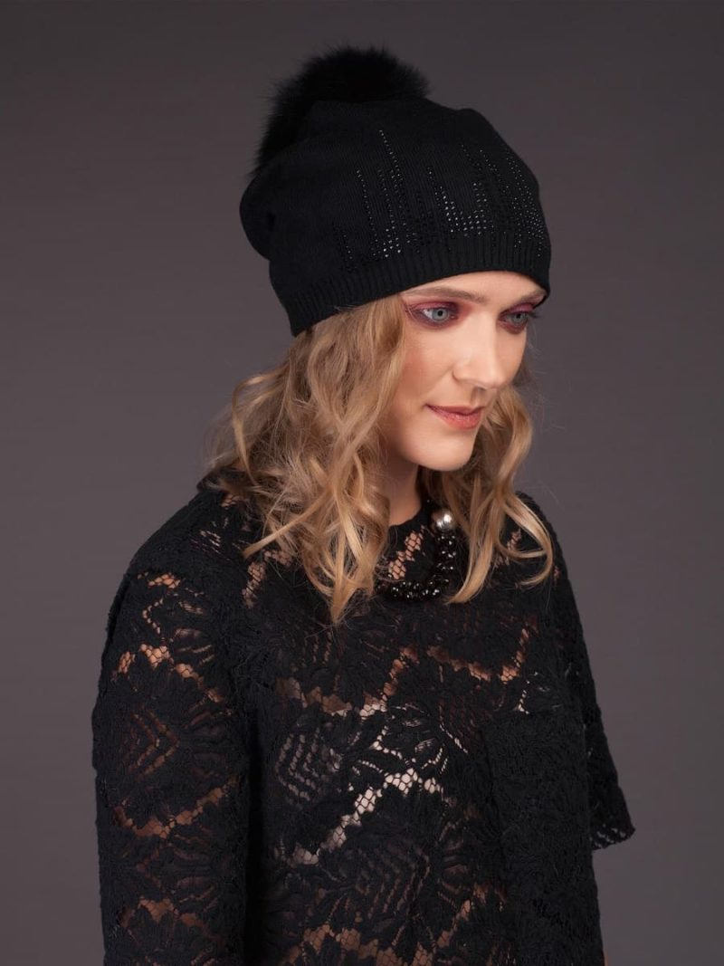Cashmere knitted black beanie hat with fox fur pom-pom and shiny dots