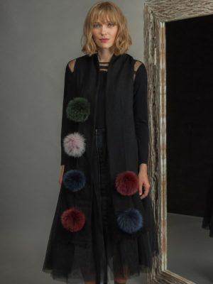 Cashmere scarf with colorful fox fur pom poms