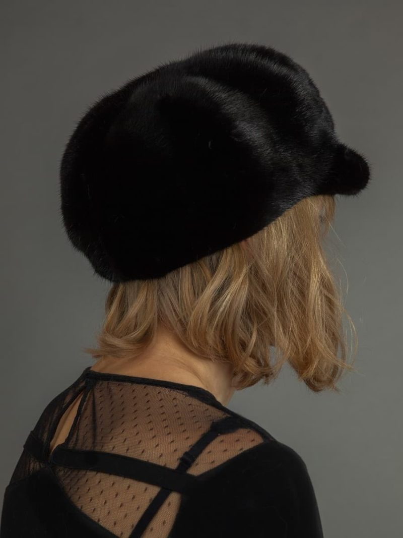 Dark brown mink fur beret front