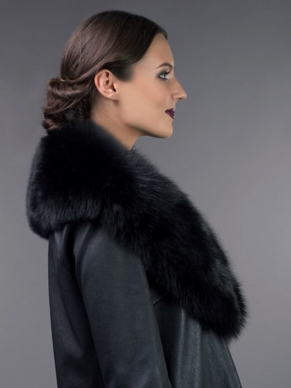 big black fox fur collar for coat jacket