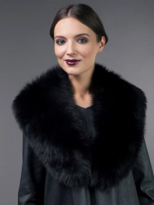 big black fox fur collar for coat jacket
