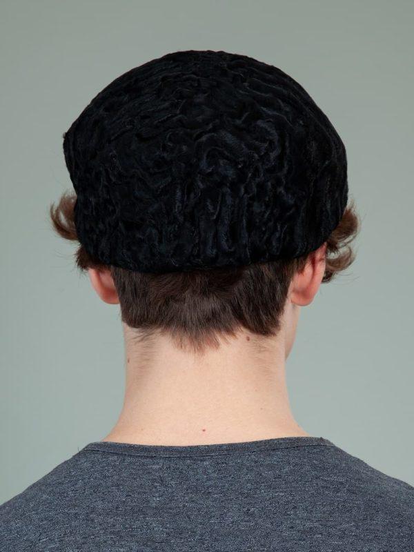 black astrakhan karakul lamb fur beret hat men