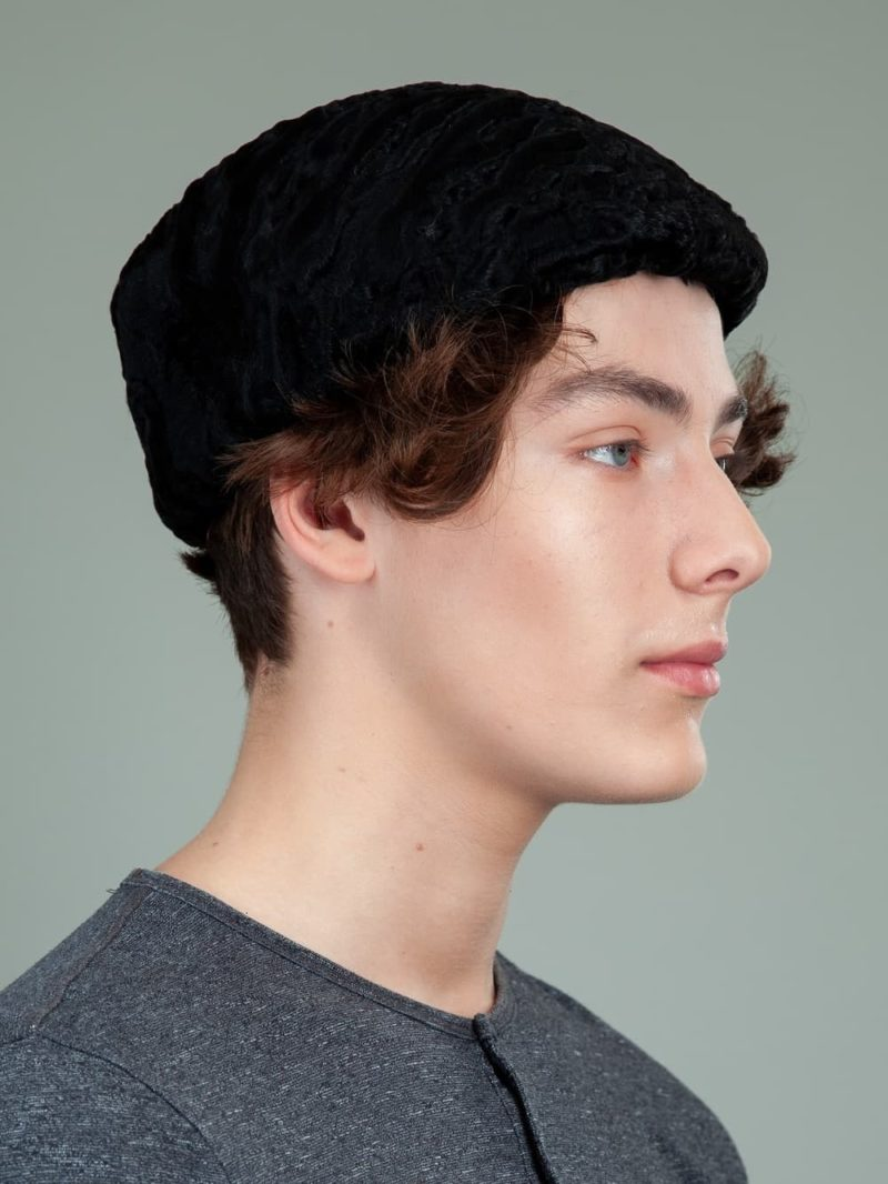 black astrakhan karakul lamb fur beret hat men