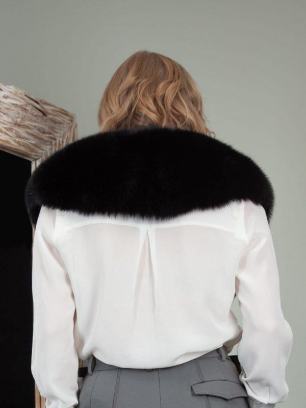 classic black fox fur wide collar wrap