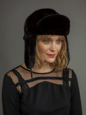 Natural black mink fur russian ushanka trapper hat men with ear flaps