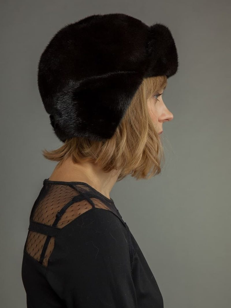Natural black mink fur russian ushanka trapper hat men
