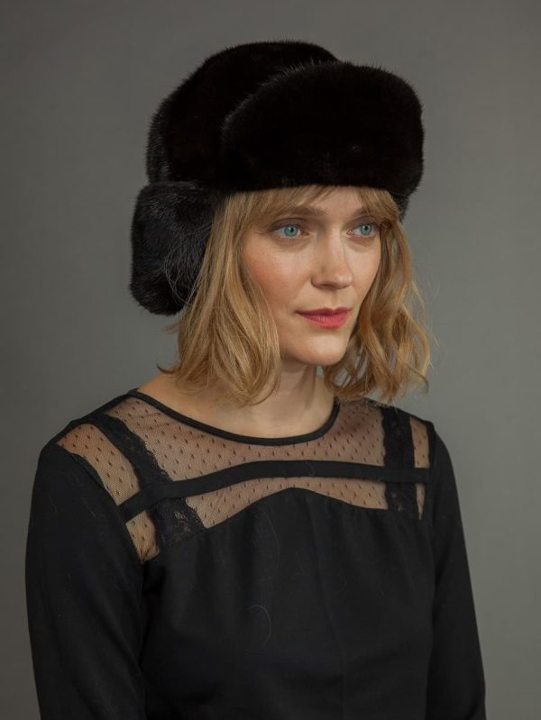 Natural black mink fur russian ushanka trapper hat unisex with ear flaps