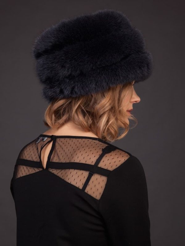 Dark blue fox fur hat with leather inserts and flat top