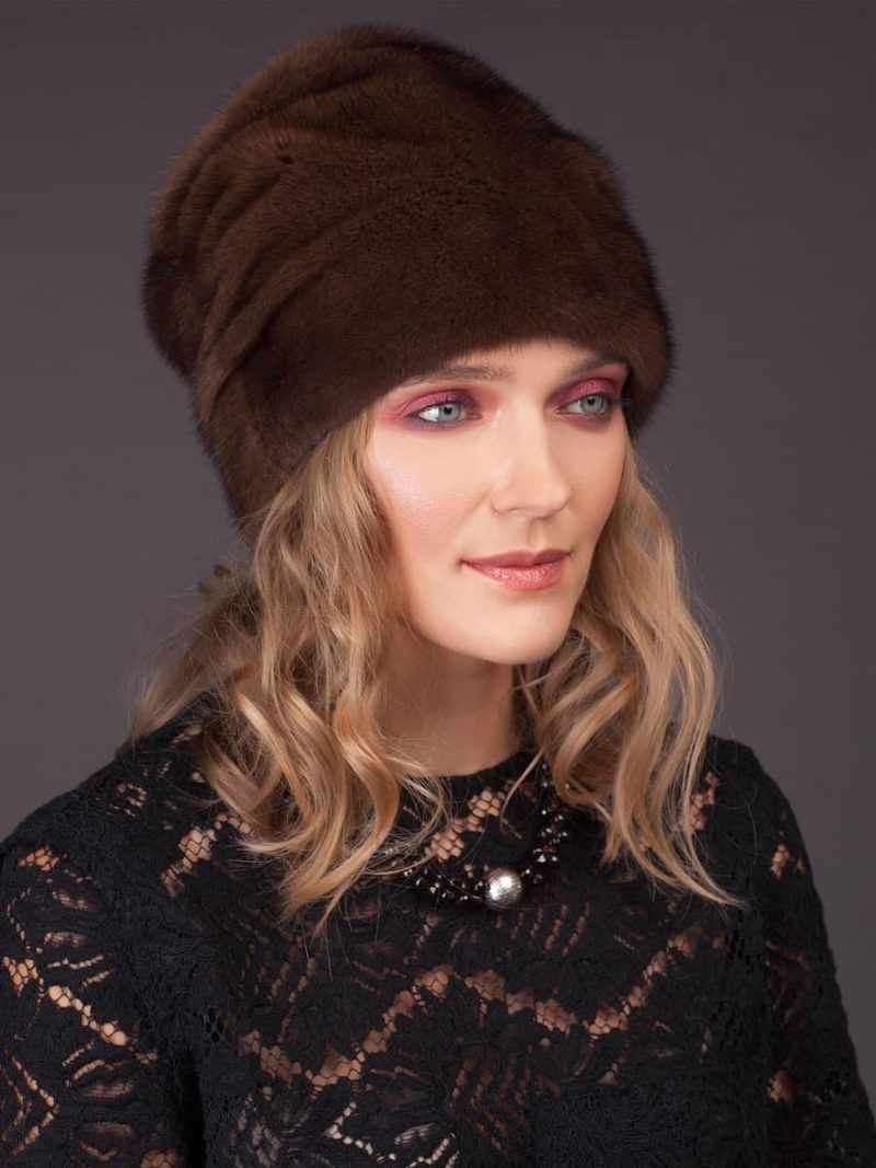 High brown mink fur hat with flat top - cylinder