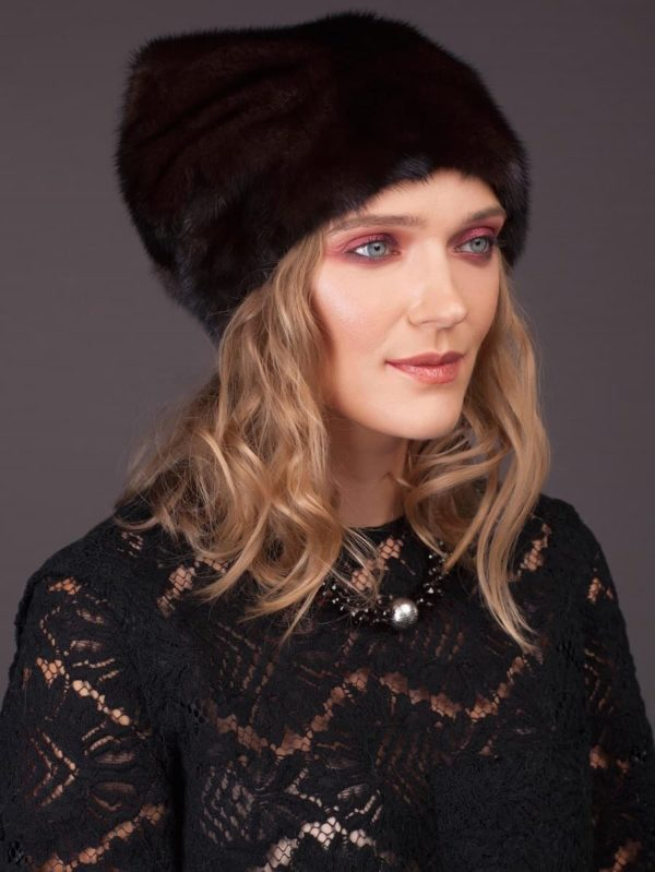 High brown mink fur hat with pom pom