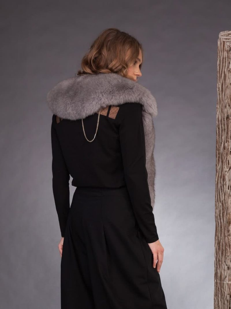 Big grey fox fur collar