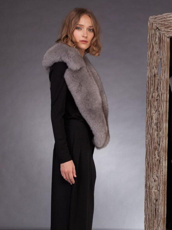 Big grey fox fur collar