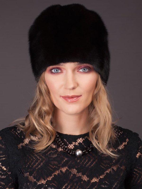 Natural black mink fur hat - flower