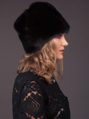 Natural black mink fur hat - flower