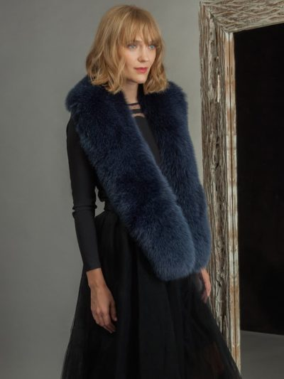 Long dark blue fox fur collar