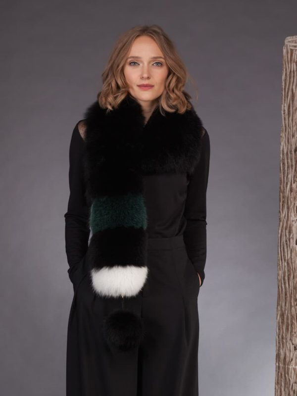 Multicolor fox fur scarf with pom pom