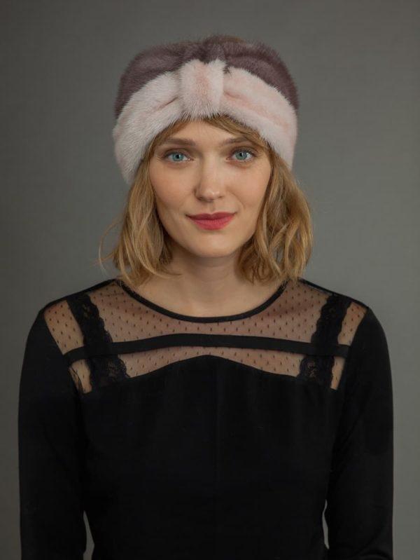 Multi-color mink fur headband