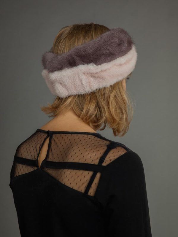 Multi color mink fur headband