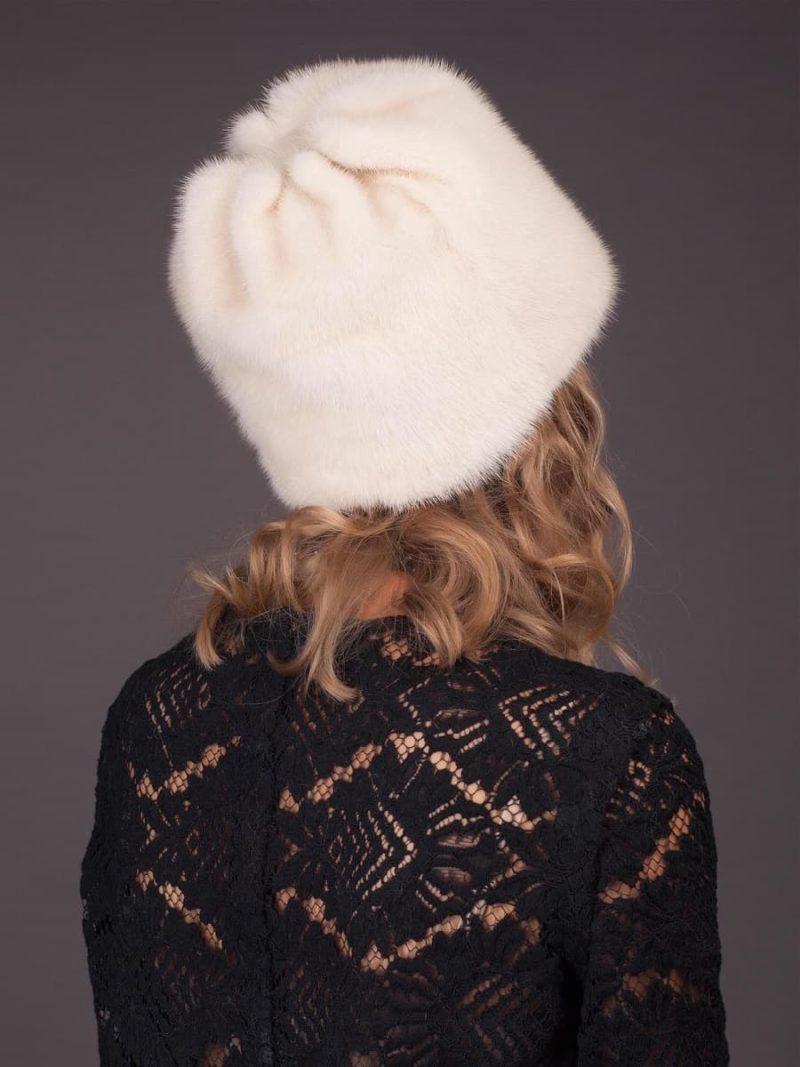 Pearl mink fur hat flower