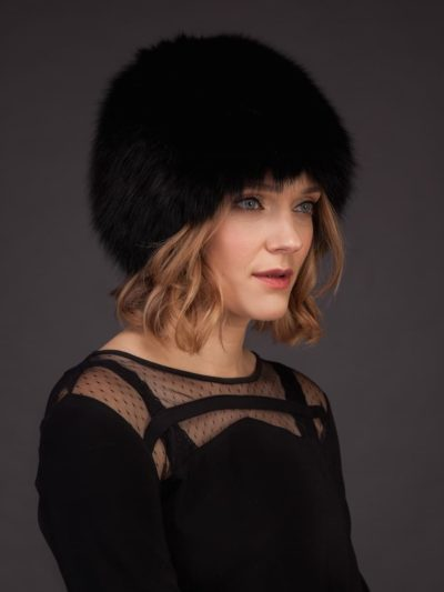 Knitted & stretchy black fox fur hat