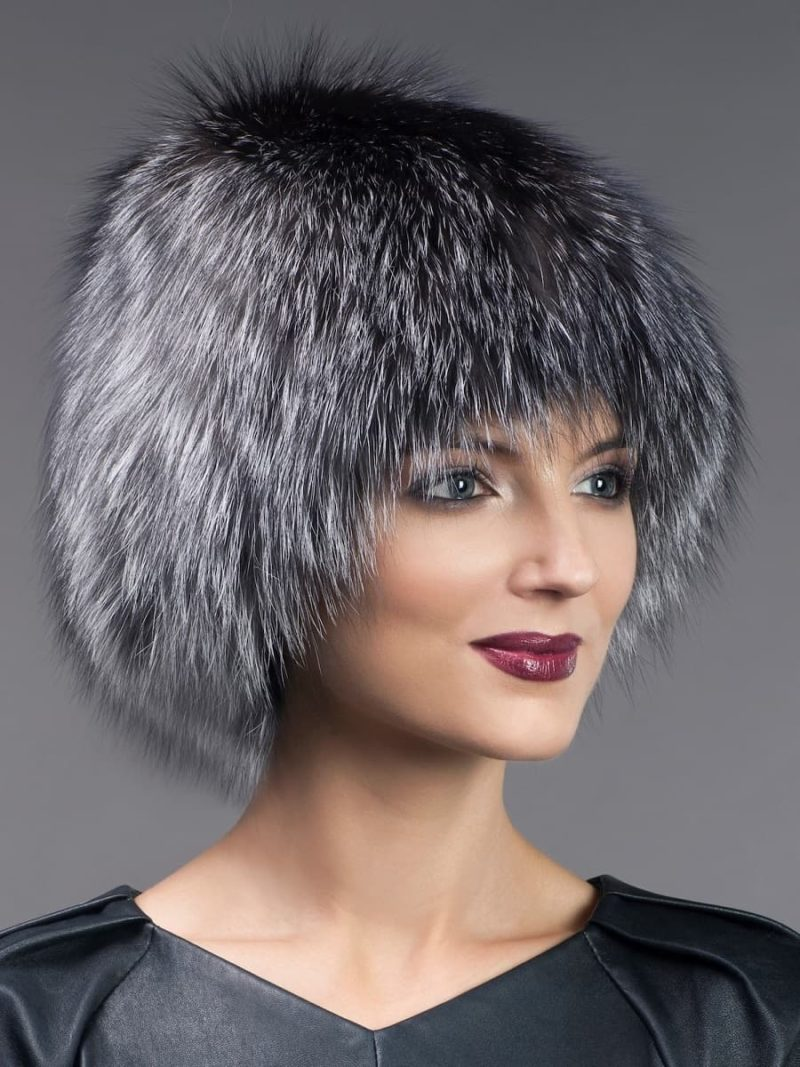 Knitted stretchy silver fox fur hat