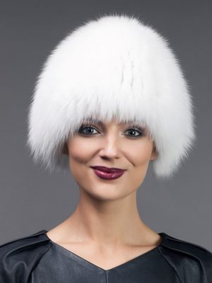 Knitted & stretchy white fox fur hat
