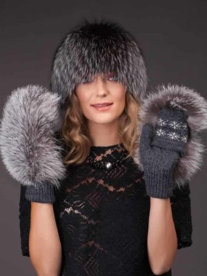Wool & silver fox fur mittens and a knitted hat set