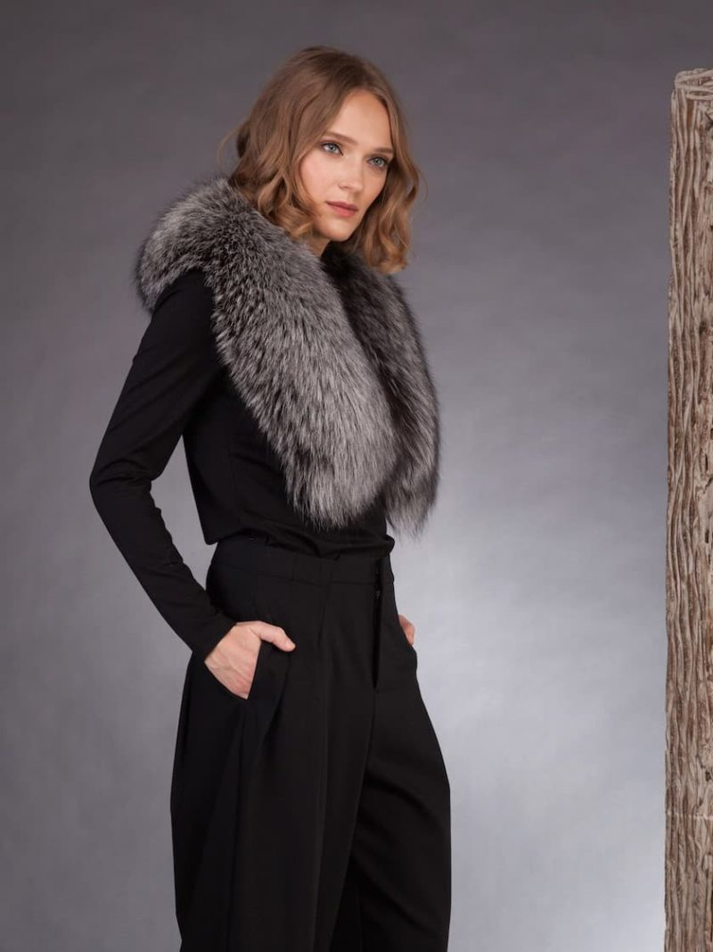 Wide silver fox fur collar for coats, jackets, dresses