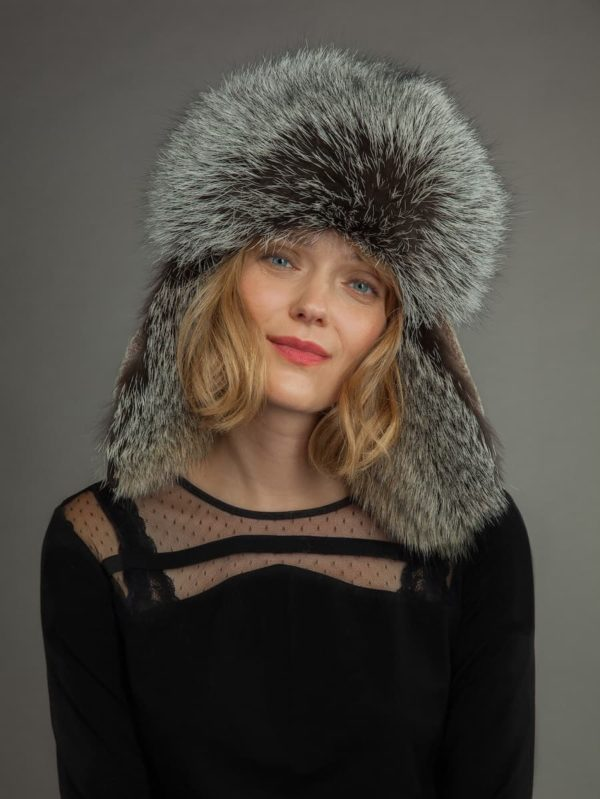 Light sheepskin and fox fur russian hat