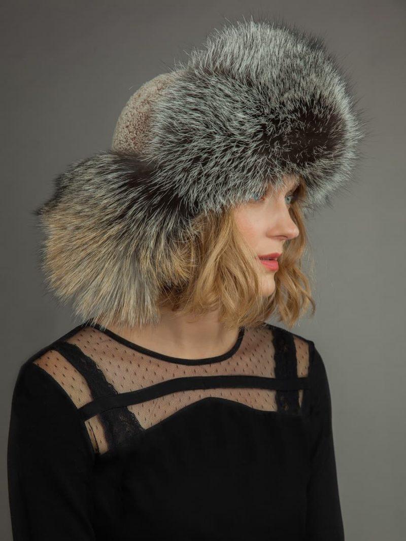 Light sheepskin and fox fur russian hat for men & women