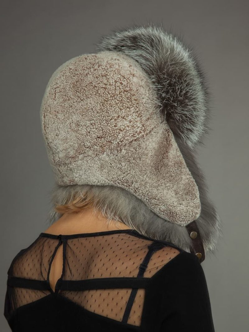 Light sheepskin and fox fur russian hat for men & women with ear flaps