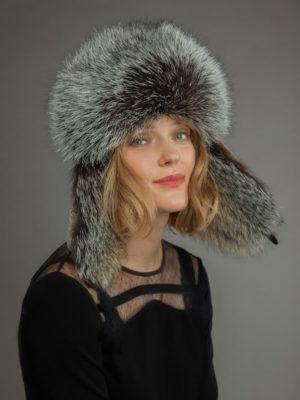Light sheepskin and fox fur russian hat for men & women with ear flaps