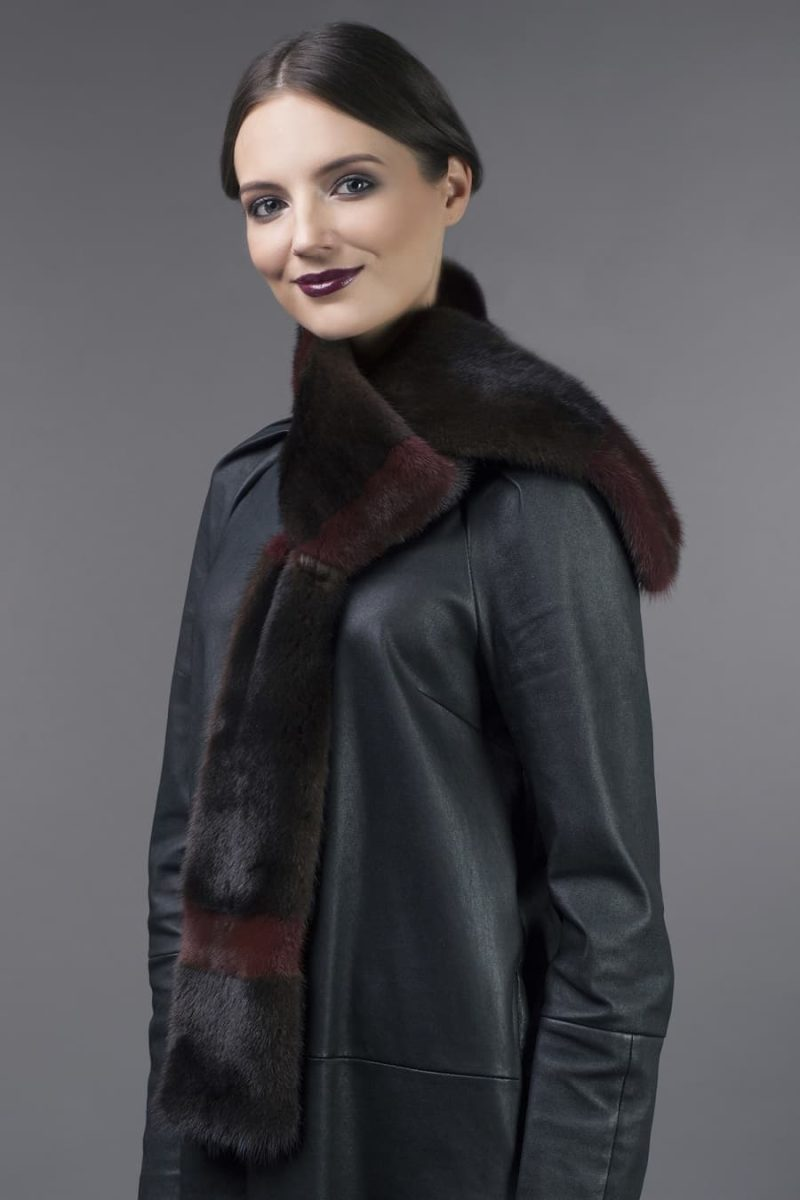 Long brown and bordo mink fur scarf