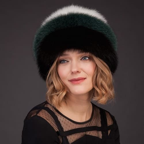 Multicolor fox fur hat with leather inserts by NordFur