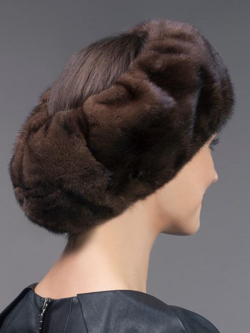 Wide brown mink fur headband