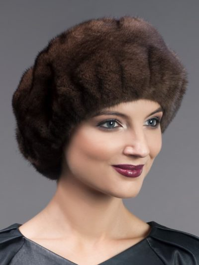 Wide brown mink fur headband